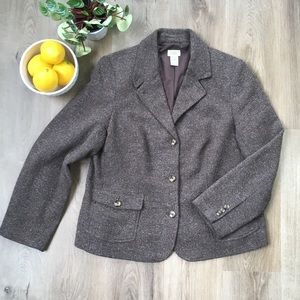 L.L. BEAN Brown Tan Wool Tweed Blazer Jacket XL